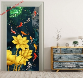 Painting carp glass stickers k364