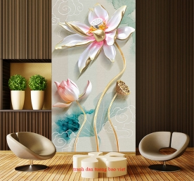 Painting glass lotus 3d k361