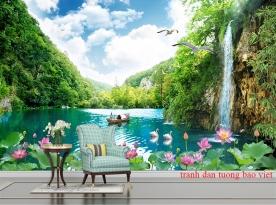 Tranh dán tường thác nước 3d ft135