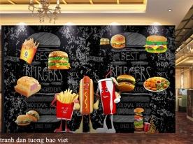 Tranh dán tường cho quán ăn hambeger me150