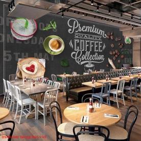 Tranh dán tường cho quán cafe fm481