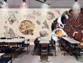 Tranh dán tường cho quán cafe me157