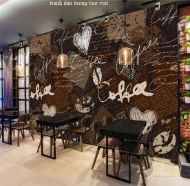 Tranh dán tường cho quán cafe fm305