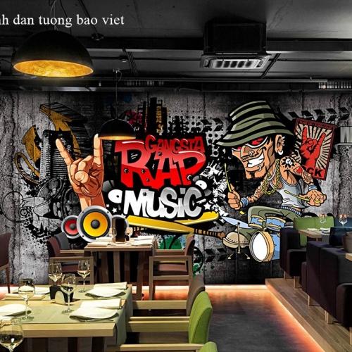Tranh dán tường cho quán cafe fm504