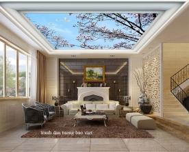 Giấy dán tường phòng khách dán trần nhà c208