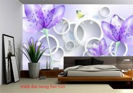 Giấy dán tường phòng ngủ màu tím fl214