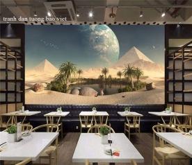 Tranh dán tường 3d cho quán cafe trà sữa fm514