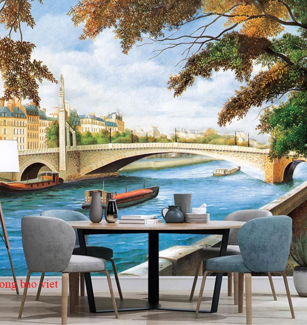 Tranh dán tường cho quán cafe fm517