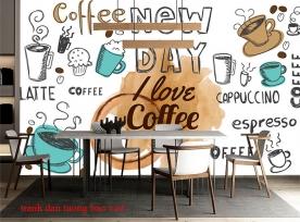 Tranh dán tường cho quán cafe fm524