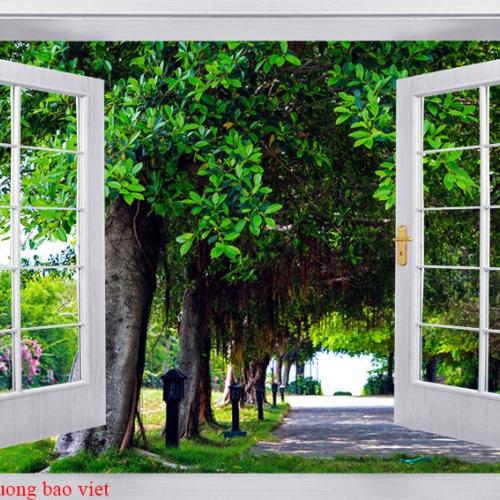 Tranh dán tường cửa sổ tr340