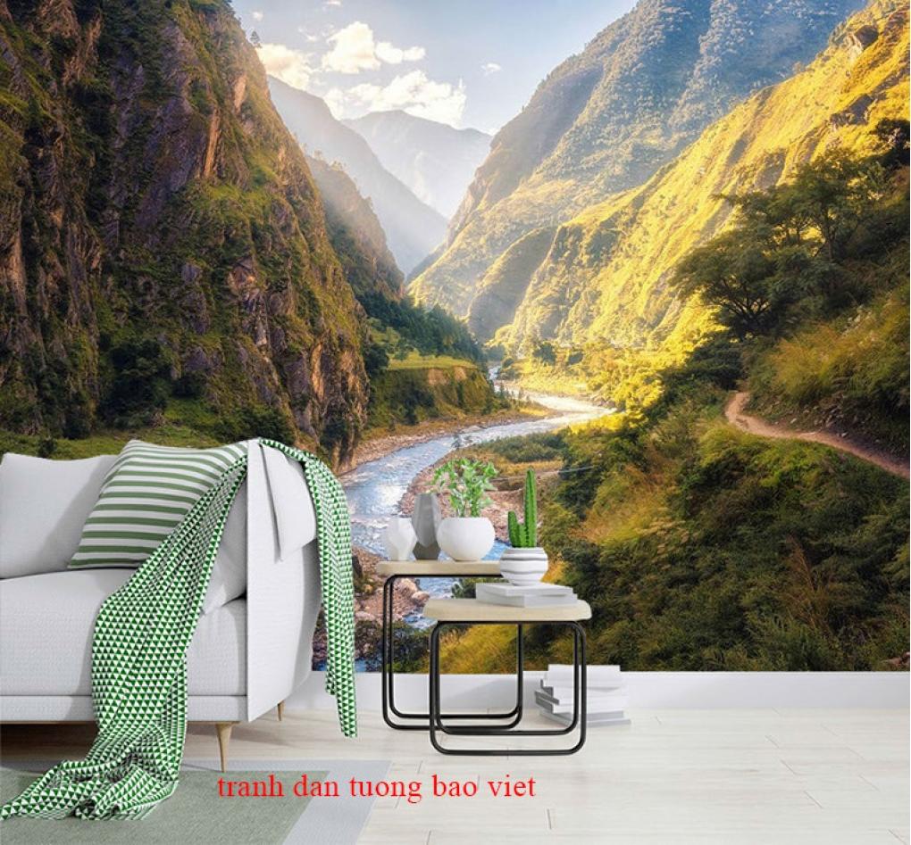 Tranh dán tường phong cảnh sông núi me218