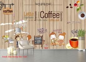 Tranh dán tường cho quán cafe fm351