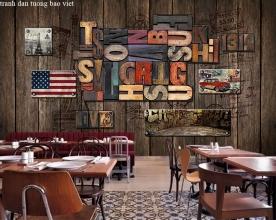 Tranh dán tường cho quán cafe fm526