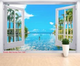 Tranh dán tường cửa sổ cảnh biển s281