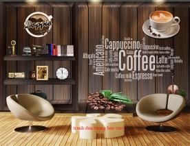 Tranh dán tường 3d cho quán cafe fm536