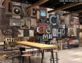 Tranh dán tường cho quán cafe fm527