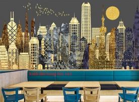 Tranh dán tường cho quán cafe fm528