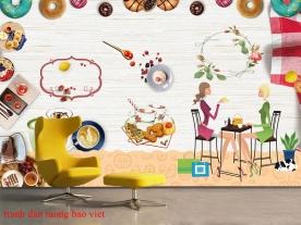 Tranh dán tường cho quán cafe fm544