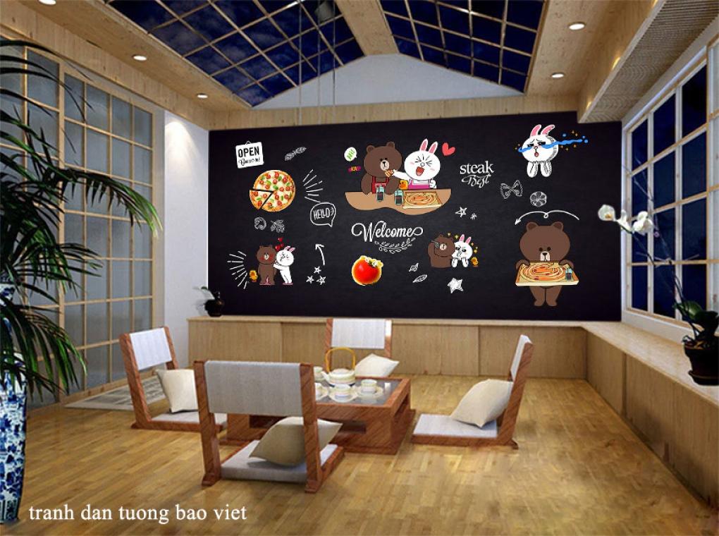 Tranh dán tường cho quán ăn fm546