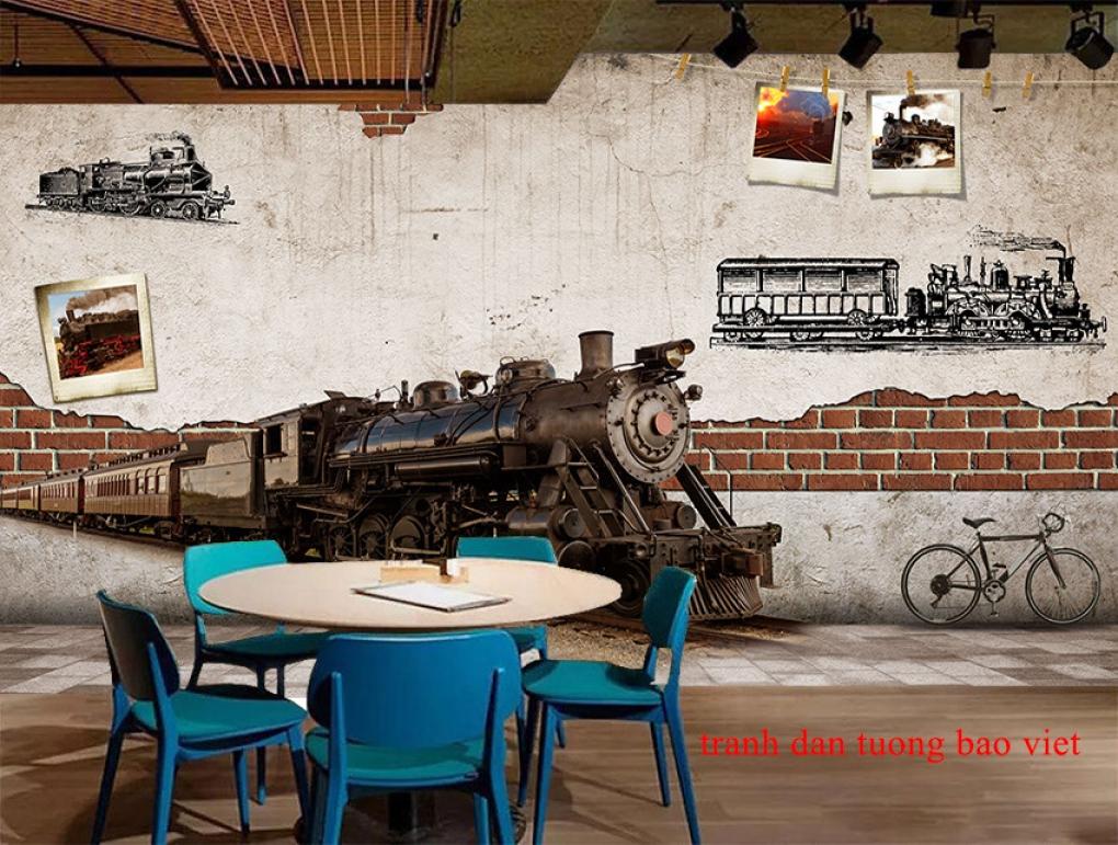 Tranh dán tường cho quán cafe fm547