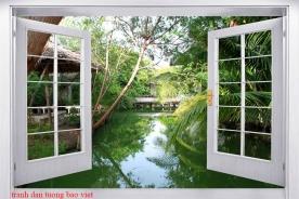 Tranh dán tường cửa sổ 3d tr341