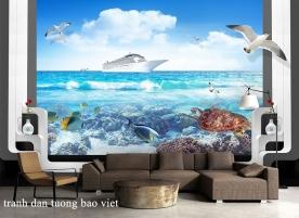 Tranh dán tường cảnh biển me120