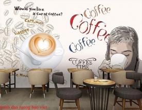 Tranh dán tường cho quán cafe me114