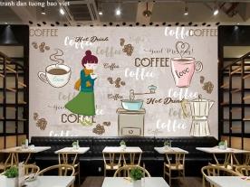 Tranh dán tường cho quán cafe trà sữa me121