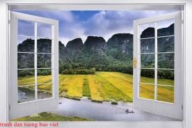 Tranh dán tường cửa sổ 3d m095