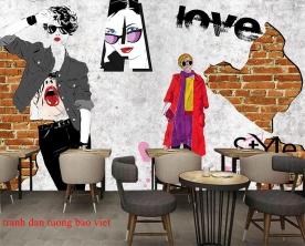 Tranh dán tường cho quán cafe fm550