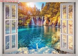 Tranh dán tường cửa sổ 3d me137