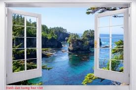 Tranh dán tường cửa sổ 3d me143