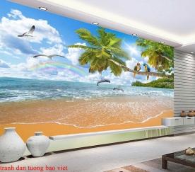 Tranh dán tường phong cảnh biển me133