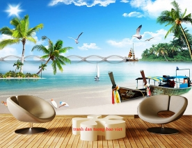 Tranh dán tường phong cảnh biển s261