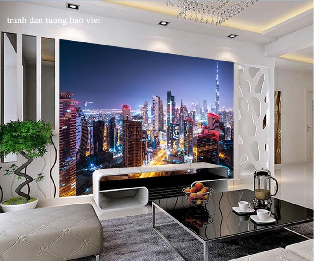 Tranh dán tường thành phố đêm Dubai fm476