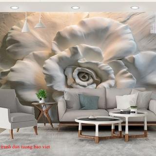 Giấy dán tường 3D hoa sen
