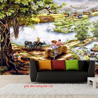 Giấy dán tường phòng khách hình ảnh phong cảnh đồng quê Việt nam