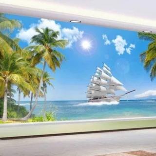 Tranh dán tường phong cảnh biển 3d