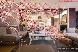 Decal dán kính 3d cao cấp hoa đào art007