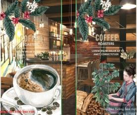 Decal dán kính cao cấp 3d cho quán cafe se036