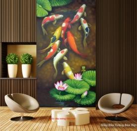 Giấy dán tường cá chép hoa sen FT083
