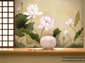 Giấy dán tường hoa sen H129