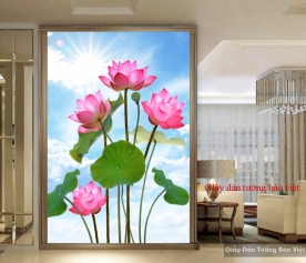 Giấy dán tường hoa sen H131