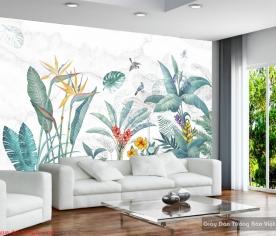Giấy dán tường lá cây nhiệt đới H185