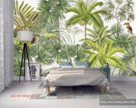 Giấy dán tường lá cây nhiệt đới d180