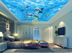Giấy dán 3D dán trần nhà cảnh biển S101