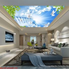 Giấy dán tường phòng khách dán trần nhà C154