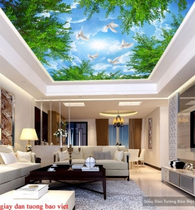 Giấy dán tường phòng khách dán trần nhà C155