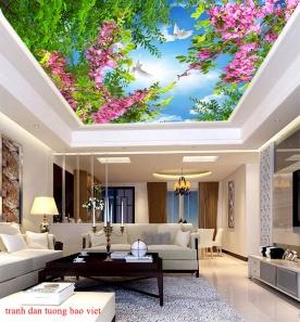 Giấy dán tường phòng khách dán trần nhà c193