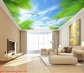 Giấy dán tường phòng khách dán trần nhà c173